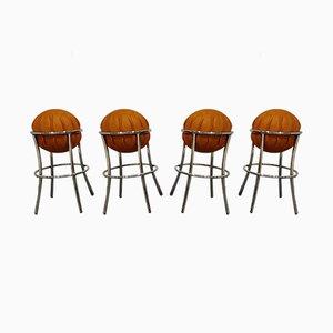Vintage Ostrich Leather Bar Stools, 1970s, Set of 4