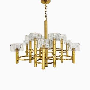 Glass & Brass Chandelier from Sciolari, 1970s