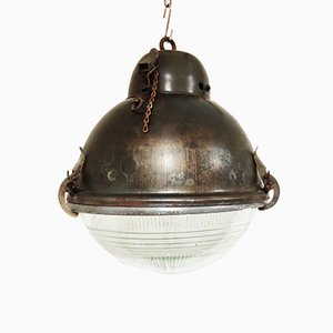 Industrial Glass Ceiling Lamp, 1930s