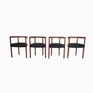 Modell 195 Esszimmerstühle aus Teak & Leder von Ole Gjerløv-Knudsen & Torben Lind für France & Søn / France & Daverkosen, 1960er, 4er Set
