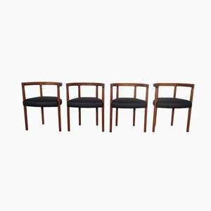Teak & Leather Model 195 Dining Chairs by Ole Gjerløv-Knudsen & Torben Lind for France & Søn / France & Daverkosen, 1960s, Set of 4