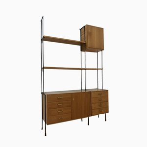 Mid-Century German Modular Floating Wall System in Teak by Ernst Dieter Hilker for Omnia, 1960s