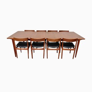 MId-Century Danish Teak Extendable Dining Table & Model 39 Chairs by Henry Rosengren Hansen for Brande Møbelindustri, 1960s, Set of 9