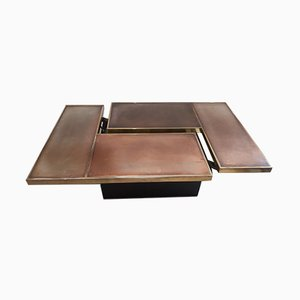 Brass Coffee Table with Hidden Bar from Willy Rizzo, 1970s