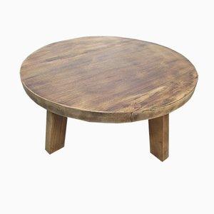 Large Brutalist Exotic Oak Coffee Table, 1960s