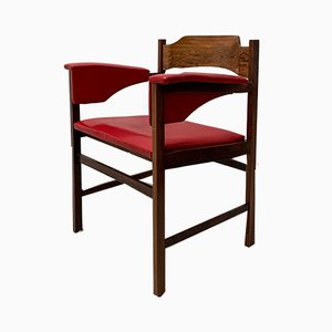 Roter Mid-Century Schreibtischstuhl