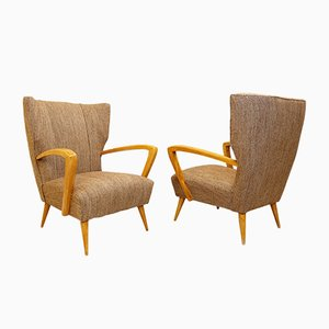 Italian Armchairs with New Brown Mottled Upholstery, 1950s, Set of 2