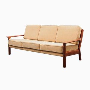Scandinavian Teak & Alcantara Fabric Sofa, 1970s