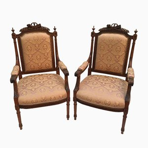 Antique Chamber Lounge Chairs, Set of 2