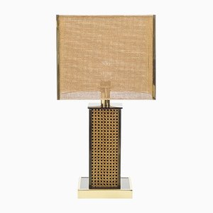 Italian Brass and Wickerwork Table Lamp, 1970s