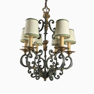 Italian Wrought Iron Dusty Grey and Gilt Chandelier, 1950s