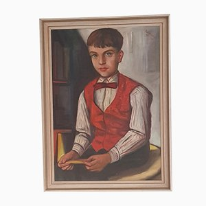 Boy with Bow Tie Oil Painting, 1957
