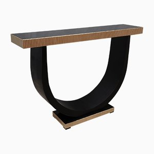 Mid-Century Wood and Brass Console Table, 1930s