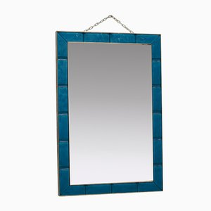 Azure Murano Glass and Brass Wall Mirror, 1980s