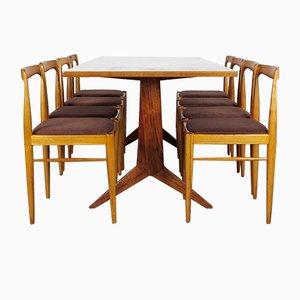 Esstisch & Stühle Set, 1960er, 9er Set