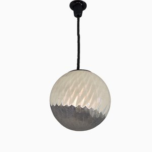 Vintage Italian Hanging Lamp with Large Murano Glass Ball, 1970s