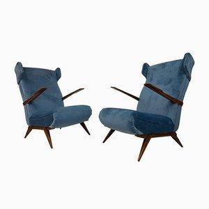 Armchairs in Blue Velvet, 1950s, Set of 2