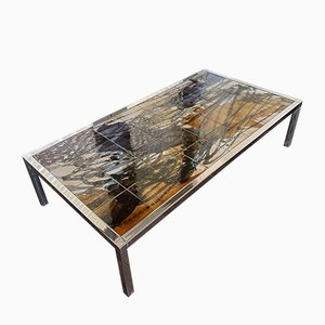 Mid-Century Hand-Painted Chrome & Ceramic Coffee Table by Juliette Belarti for Belarti