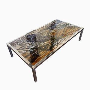 Table Basse Mid-Century en Chrome et Céramique Peints à la Main par Juliette Belarti pour Belarti