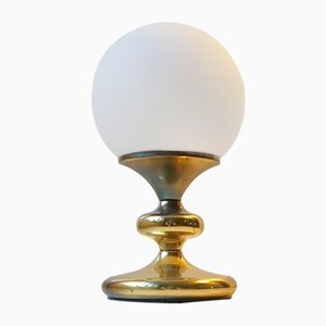Vintage Danish Table Lamp in White Glass and Brass from ABO, 1970s