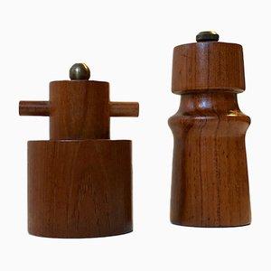 Vintage Salt & Pepper Mills in Teak by Palle Uldall for Dane Wood, 1970s, Set of 2