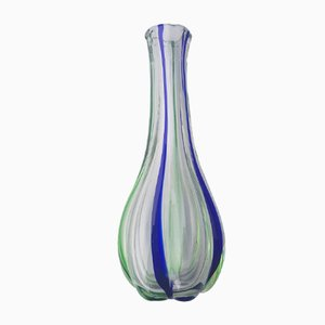 Mid-Century Vase aus Muranoglas mit Streifen in Grün und Blau