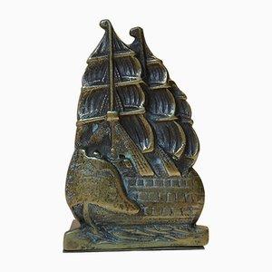 Dänische Bücherstütze aus Bronze mit Schiff, 1920er