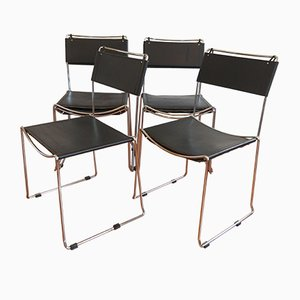 Italian Chrome & Leather Dining Chairs by Giandomenico Belotti for Alias, 1978, Set of 6