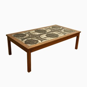 Rectangular Beech & Ceramic Coffee Table by Ox Art for Mobelintarsia, 1970s