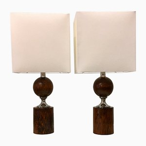 Walnut Table Lamps by Philippe Barbier, 1960s, Set of 2
