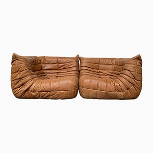 Vintage French Cognac Leather Togo Corner Seats by Michel Ducaroy for Ligne Roset, Set of 2