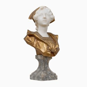 Antique Marble & Gilt Bronze Young Woman Bust by Gustave Vaerenbergh