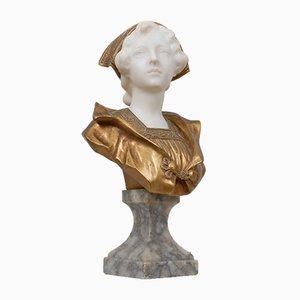 Busto de mujer joven antiguo de mármol y bronce dorado de Gustave Vaerenbergh
