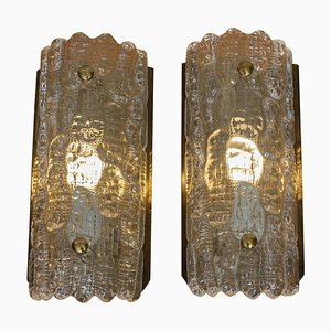 Swedish Brass and Crystal Sconces by Carl Fagerberg for Orrefors, 1960s, Set of 2
