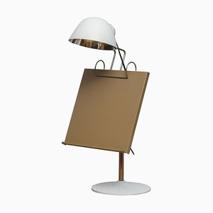 Swedish White Table Lamp with Tablet / Book Stand from Falkenberg Belysning, 1960s