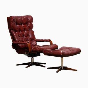 Bordeaux-Brown Swivel Lounge Chair & Ottoman from Kropp Stolen, 1970s, Set of 2