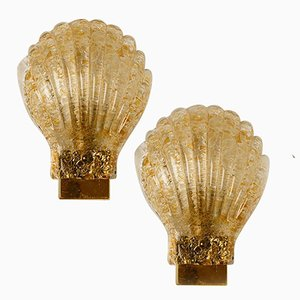 Murano Glass & Brass Sea Shell Sconces by Barovier, Italy, 1960s, Set of 2