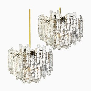 Large Modern 3-Tiered Brass & Ice Glass Chandeliers by J.T. Kalmar, 1960s, Set of 2