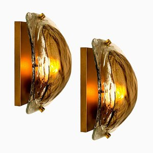 Brass and Hand Blown Brown Murano Glass Wall Lights by J.T. Kalmar, 1960s, Set of 2