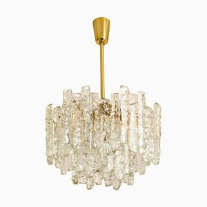 Modern Brass and Ice Glass Chandelier Pendant Lamp by J.T. Kalmar, 1970s