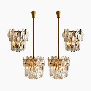 Gilt Brass and Glass Palazzo Wall Light Fixtures by J.T. Kalmar, 1970s, Set of 4