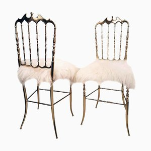 Italian Massive Brass & Iceland Wool Chairs by Chiavari, 1960s, Set of 2