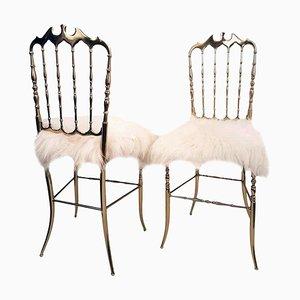Massive italienische Messing & Woll Stühle von Chiavari, 1960er, 2er Set