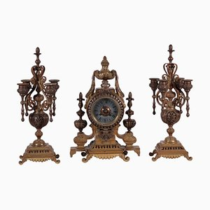 19th Century French Bronze Table Clock & Candlesticks Set