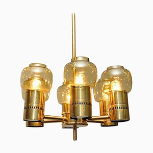 Brass and Amber Glass Ceiling Lamp by Hans-Agne Jakobsson, Sweden, 1950s