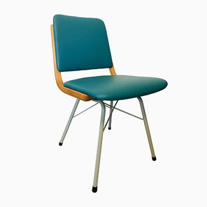 Chaise de Salon en Métal, Bois et Turquoise Eco-Cuir, 1960s