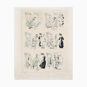 Painter's Studio - Original Ink Drawing - 19th Century 19th Century