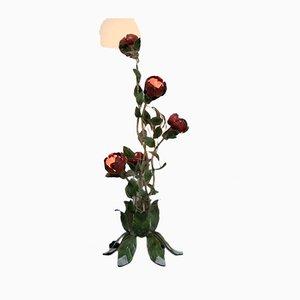 Vintage Blumen Metall Stehlampe