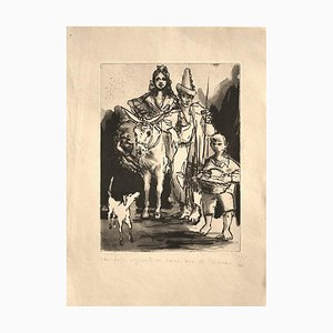 Spanish Family - Original Etching by Pere Créixams - 20th Century 20th Century