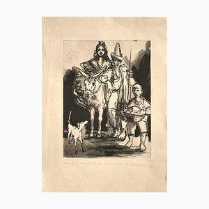 Spanish Family - Original Radierung von Pere Créixams - 20th Century 20th Century